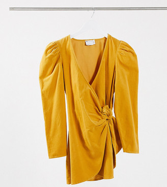 ASOS DESIGN Petite cord mini wrap dress with long sleeves in ochre