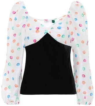 Rixo Hannah polka-dot velvet blouse