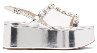 Miu Miu Crystal-embellished Leather Flatform Sandals - Womens - Silver