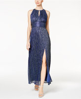 R & M Richards Metallic Knit Keyhole Halter Gown