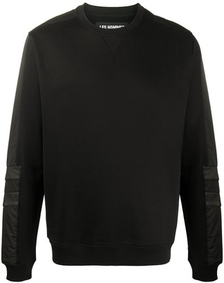 Les Hommes Leather-Trimmed Sweatshirt
