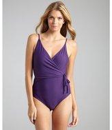 Diane von Furstenberg plum stretch nylon 'Chike' wrap front one-piece swimsuit