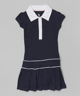 U.S. Polo Assn. Navy & White Pleated Polo Dress - Girls