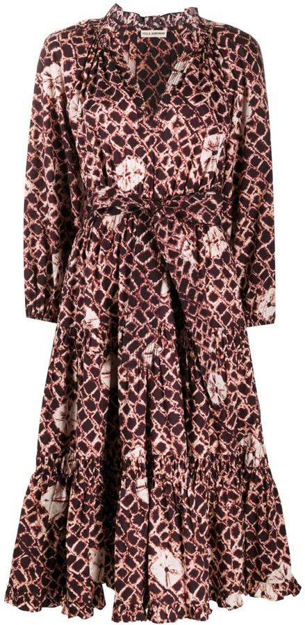 Ulla Johnson Tie-Dye Tie-Waist Midi Dress