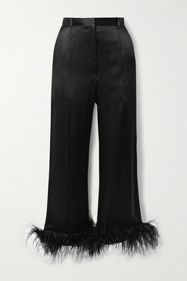Michael Lo Sordo Cropped Feather-trimmed Silk-satin Wide-leg Pants - Black