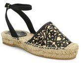 Oscar de la Renta Laser-Cut Calfskin Leather & Raffia Espadrille Sandals