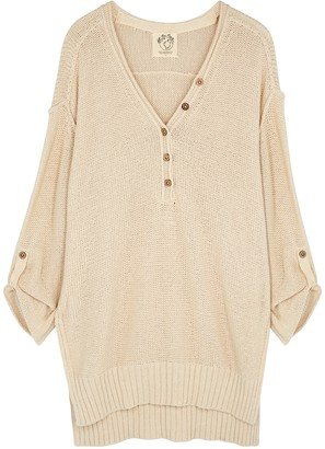 Free People Firefly cream textured-knit tunic