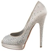 Casadei Satin Embellished Pumps