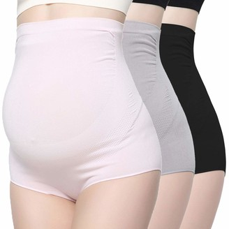 KUCI Bamboo Fiber Maternity Underwear Women Ultra High Waist Superelastic Pregnant Panties Briefs - beige - Large