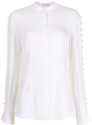 Altuzarra Pearl-Embellished Long-Sleeve Blouse