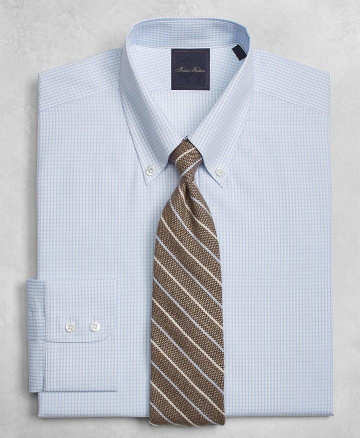 Brooks Brothers Golden Fleece Milano Slim-Fit Dress Shirt, Button-Down Collar Twin-Check