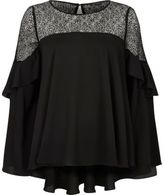 River Island Woblack Crepe Lace Flared Long Sleeve Top