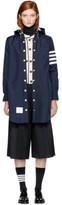 Thom Browne Navy Nylon Tech Four Bar Lightweight Coat