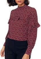 Oasis Heart Print Long Sleeve Frill Top
