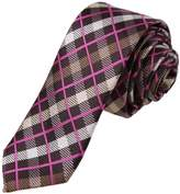 DAE7C12C Hot Pink Brown Checkered Microfiber Skinny Tie Husband Goods Thin Tie By Dan Smith