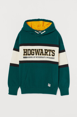 H&M Embroidered-detail Hoodie - Green