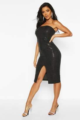 boohoo Sequin Bandeau Front Split Midi Dress