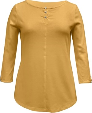 Karen Scott Cotton Triple-Keyhole Top, Created for Macy's