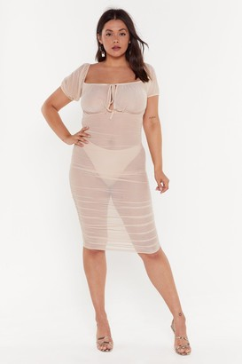 Nasty Gal Womens Gather Your Things Plus Mesh Dress - Nude