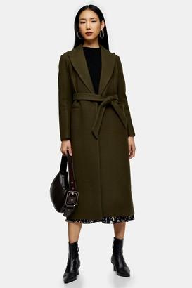 Topshop Womens Khaki Belted Coat - Khaki