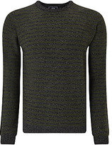 John Lewis Made In Italy Merino Cashmere Stripe Crew Neck Jumper, Olive/charcoal