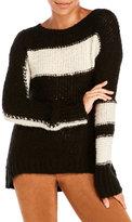 Pam & Gela Striped Open-Stitch Sweater