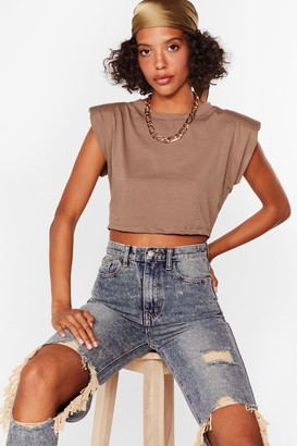 Nasty Gal Womens Crop Right There Shoulder Pad Tee - Black - 14