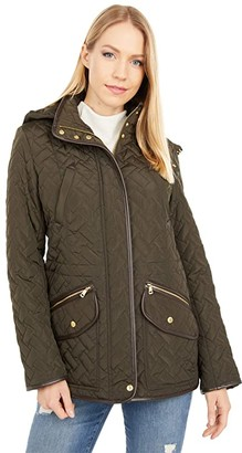 Cole Haan 28 Signature Quilted Jacked with Removable Hood (Olive) Women's Clothing