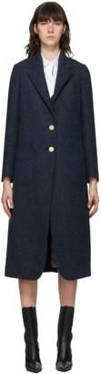 Thom Browne Navy Wool Elongated Sack Coat