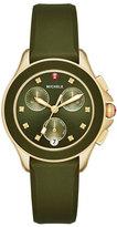 Michele Cape Golden Chronograph Watch w/Silicone Strap, Green