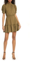 Alice + Olivia Vida Puff Sleeve Tiered Ruffle Minidress
