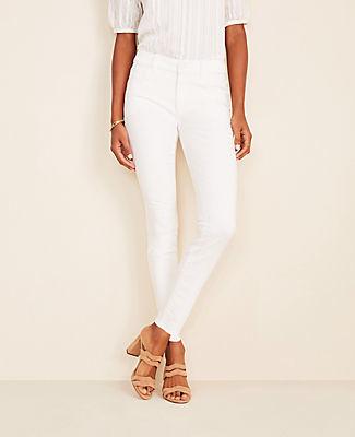 Ann Taylor Petite Sculpting Pocket Skinny Jeans In White