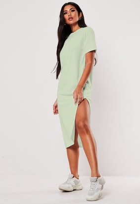 Missguided Mint Basic Midi T Shirt Dress