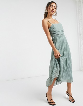 ASOS DESIGN pleated dobby midi dress with drawstring details