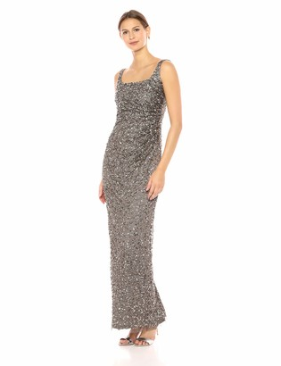Adrianna Papell Women's Sleeveless Crunchy Bead Gown with Square Neckline