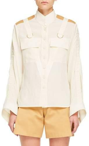 Chloé Long-Sleeve Contrast-Shoulder Button-Front Safari Blouse