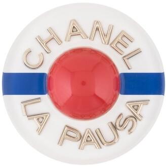 Chanel Pre Owned CC La Pausa logos brooch pin corsage