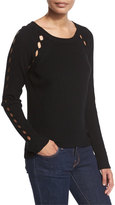 Milly Ribbed Pointelle Inset Sweater, Black