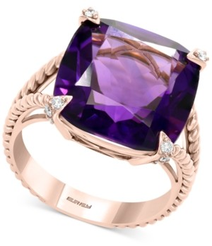 Effy Amethyst (10-3/4 ct. t.w.) & Diamond (1/10 ct. t.w.) Statement Ring in 14k Rose Gold