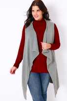 Yours Clothing Grey Knitted Sleeveless Waterfall Waistcoat Wrap