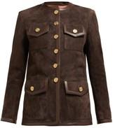 Gucci Suede Collarless Jacket - Womens - Dark Brown