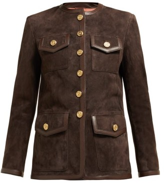Gucci Suede Collarless Jacket - Womens - Dark Brown