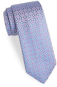Charvet Embroidered Flower Silk Tie