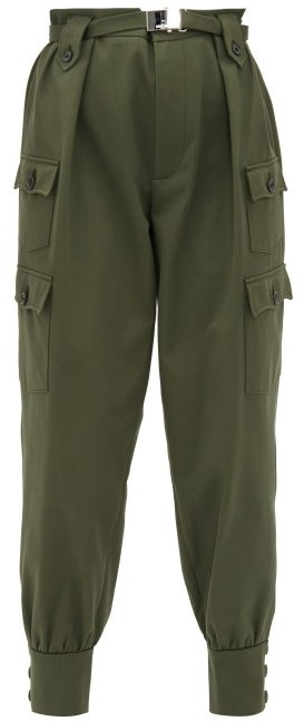 top-rated professional huge range of luxuriant in design Belted Cotton Twill Cargo Trousers - Womens - Dark Green