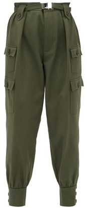 Miu Miu Belted Cotton Twill Cargo Trousers - Womens - Dark Green