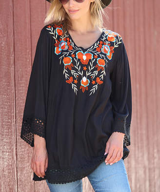 Ananda's Collection Women's Tunics BLACK - Black Embroidered Lace-Trim Peasant Tunic - Women