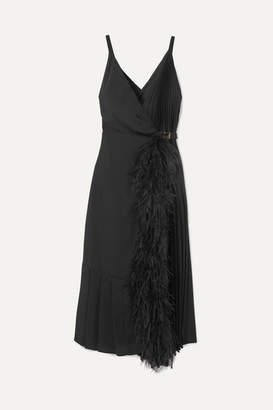 Prada Feather-trimmed Pleated Satin Wrap Dress - Black