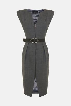 Karen Millen Black Label Italian Stretch Wool Zip Dress