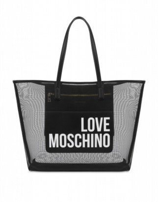 Love Moschino Transparent Mesh Shopper Woman Black Size U It - (one Size Us)