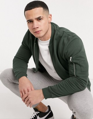 ASOS DESIGN jersey bomber jacket with MA1 pocket in khaki